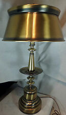 Vintage Antique Brass Mid-Century Table Lamp w Bouillotte Style Tole Metal Shade