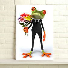 Framed Ready To Hang HD Canvas Prints Wall Art Painting Picture Frog Gentleman