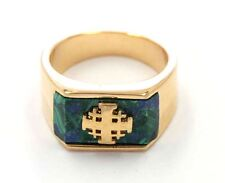 New alluring Gold filled Jerusalem cross Ring with Azurite stone from Israel