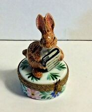 France Limoges Hand Painted Signed Curious Brown Bunny Rabbit Book Trinket Box
