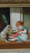 "S.REYNOLDS ORIGINAL OIL ON CANVAS PAINTING""GIRL W/ DOG""SIGNED,GILT ORNATE FRAME"""
