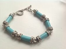 Antique style design genuine sterling Silver turquoise tube bracelet gift boxed