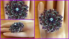 Fashion Rings - Stretch Rings - One Size Fits All - Purple Flower Crystal Ring