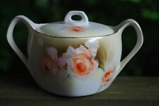 Vintage Prussia R S Tillowitz Silesia ROSES Gold Trim Handled Sugar Bowl W Lid