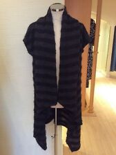 Eden Rock Cardigan Size M BNWT Black Grey Stripe Draped RRP £121 Now £54