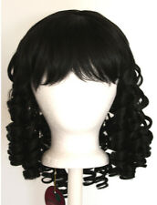 14'' Ringlet Curly Shoulder Length w/ Short Bangs Natural Black Wig Lolita NEW
