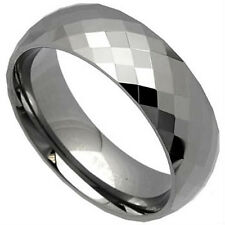 TUNGSTEN CARBIDE 8mm Wide High Polished Faceted Plain Ring Band, size 13 -NEW-