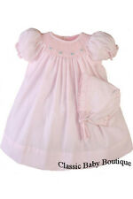 NWT Petit Ami Pink Bishop Smocked Baby Girls Dress Daygown Bonnet Preemie