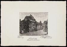 WILLY KÖCHLER Signed Vint c1920s Etching Radierung NÜRNBERG, ALBRECHT DÜRER HAUS