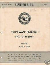 Pratt & Whitney R-1830 Twin Wasp Maintenance Service rare 1950s historic manual