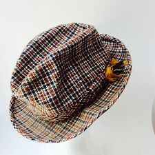 Vintage Plaid Fedora Men's Hat - Feather Cap - Wool Tartan Hats, Red, Black, Tan