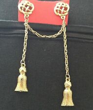 Vintage Victorian Revival Tassels Chain Sweater/Vest  Guard Dress Clip Lapel Pin
