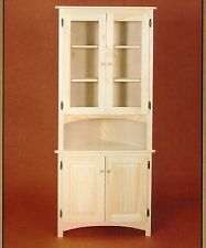 New amish unfinished solid pine corner hutch china cabinet rustic wood
