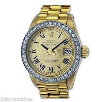 Rolex ladies 18k Gold President Oyster Perpetual DateJust with Diamond Bezel