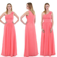 Coral Chiffon Formal Long Evening Ball Gown Party Prom Bridesmaid Dress SZ 8-22