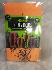 ORANGE TIGHTS WITH BLACK SPIDERS & WEBS ALL OVER HALLOWEEN FUN- ETC AGE 7-10
