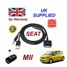SEAT Mii iPhone iPod USB & Aux Cable replacement & Adapter (Black)