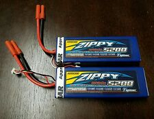 2 New Zippy 5200mAh 2S 7.4v 30C 40C Lipo Battery ROAR  TRAXXAS TURNIGY REDCAT