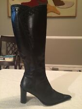 Women's Angela Falconi Black Tall Leather Boots Size Euro 35 US 5