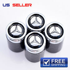 MERCEDES BENZ CARBON FIBER VALVE STEM CAPS WHEEL TIRE - US SELLER VC10