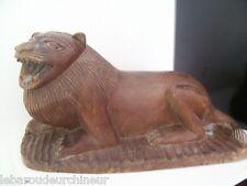 ancienne Sculpture lion en bois afrique 1930-1950
