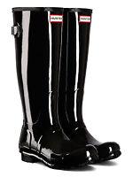 HUNTER ORIGINAL ADJUSTABLE BACK GLOSS - WFT1001RGL - BLACK BOOTS