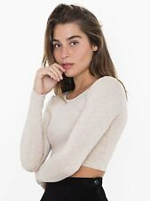 American Apparel Cotton Spandex Jersey Long Sleeve Crop Top Shirt Oatmeal Small