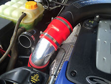 """FG Ford XR6 Turbo Intake Air Muffler Delete Red Silicone Polished Alloy 3"""" Pipe"""