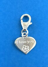 925 Sterling Silver I Love You Heart Clip on Charm