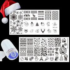 Weihnachten Thema 2x Nagel Stamping Schablone & Jelly Silikon Stamper Set