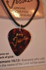 "Guitar Pick ""Pick Jesus"" Necklace Brown Tortoise Shell Pick"
