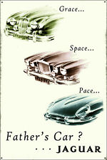 Father's Car Jaguar Galvanized Steel Enamel Painted Iconic Metal Display Sign