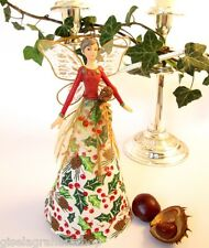 GISELA GRAHAM Christmas tree topper fairy angel red green gold holly leaves