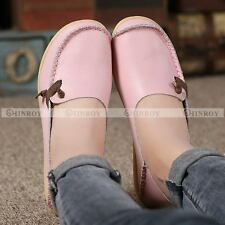 Womens Padded Leather Casual Walking Bowed Moccasin Fashion Flat Shoes