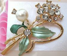 Ladies Crystal Flower Rhinestone Enamel Brooch new