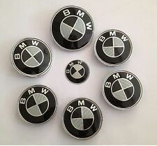 KIT 7 Badge Embleme LOGO BMW Carbone - Capot82+Coffre74+ Volant + 4 Cache Jante