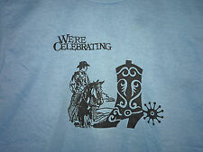 Vintage 80s Cowboy Horse and Boot 50/50 T Shirt Blue M