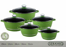5pc Ceramic Coated Non Stick Die-Cast Casserole Set INDUCTION Cookware GREEN