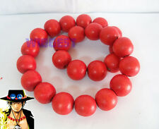 One Piece Portgas D Ace Cosplay Necklace Fire Fist Wooden Beads Gift
