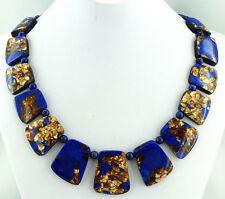 NEW Lapis Lazuli Jasper & Gold Copper Bornite Stone Necklace Jewellery G6072
