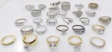 Lot of 27 Assorted Sterling Silver Cubic Zirconia CZ Fashion Rings 114 Grams