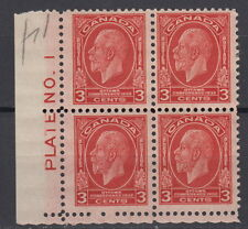 Canada #192 3¢ Imperial Economic Conference LL Plate #1 Block MH