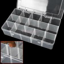 LARGE Adjustable Plastic 15 Compartment Storage Box Jewelry Craft Tool Bin Case