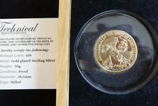 2008 SILVER PROOF GOLD PLATED SAPPHIRES TDC £5 PIEDFORT COIN LORD NELSON RARE