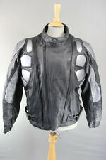 RAUF BIKERS CLUB BLACK & SILVER LEATHER BIKER JACKET WITH REMOVABLE ARMOUR 44 IN