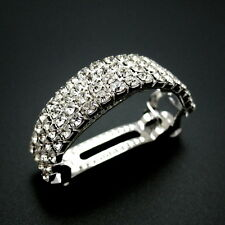 Silver Rhinestone Jeweled Crystal Barrette Style Ponytail Holder Updo Hair Clip