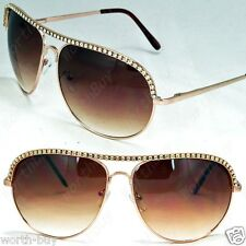 New Rhinestones Womens Sunglasses Shades Designer Fashion Gold Brown Metal Pilot