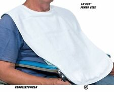 "12 NEW ADULT TERRY CLOTH BIBS W/ ""HOOK AND LOOP"" CLOSURES WHITE"