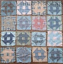 21 Antique Homespun Madras Plaid Hole in Barn Door QUILT Blocks