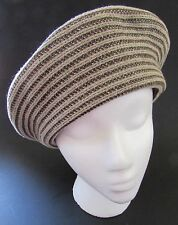 "Eric Javits  New York  ""Shania"" French Beret / Hat Striped Brown & Beige"